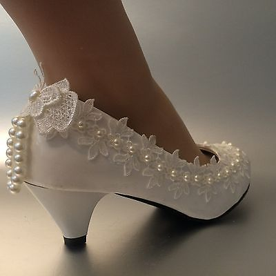 Lace white ivory crystal Wedding shoes Bride flats low high heel wedge size 5-12