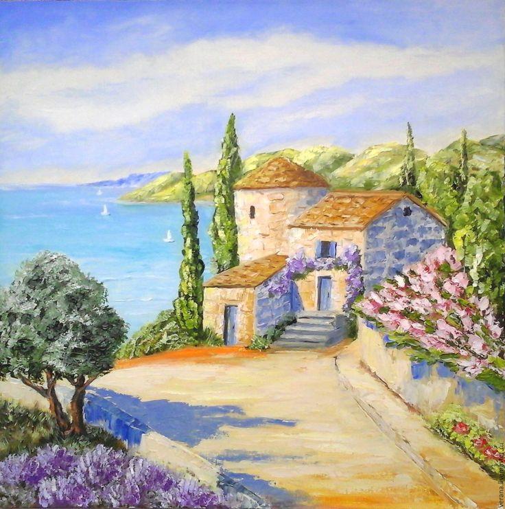 Купить Картина маслом. Пейзаж. Италия,Тоскана. - голубой, картины италия, итальянские картины