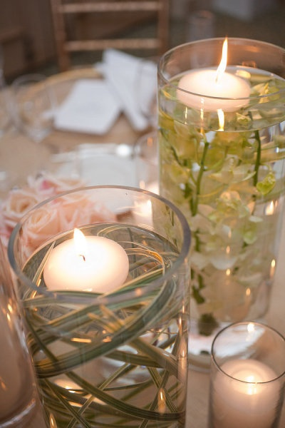 Lily Grass, Orchids and floating candle