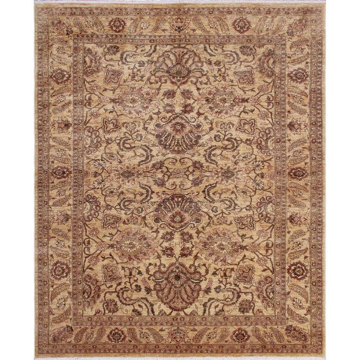 Peshawar Ashmat Gold/Rust Rug (7'11 x 9'7) (Size), Size 8' x 10' (Wool, Oriental)