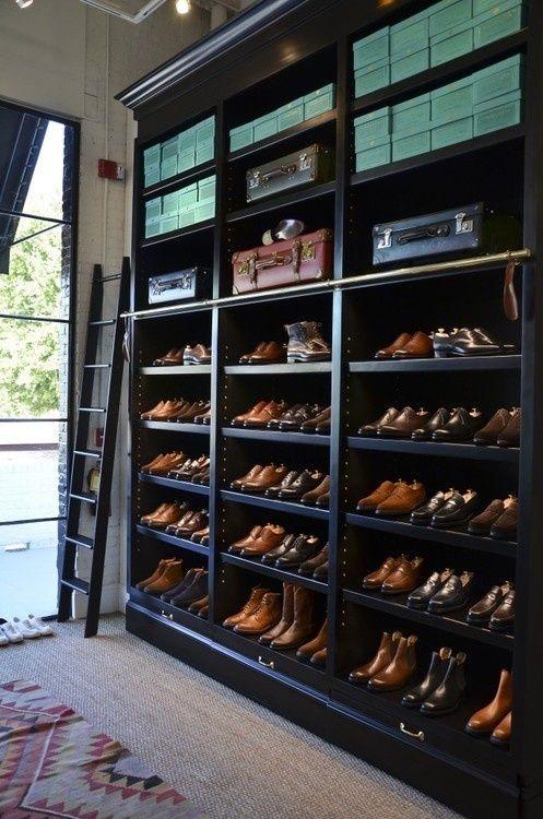 Men's shoe shelves.