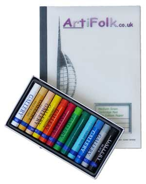 Artifolk 12 Artists' Oil Pastels and A4 Cartridge Pad Set