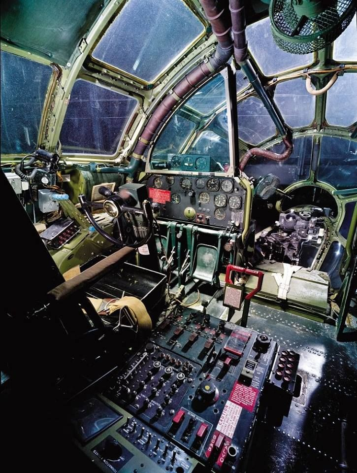 """The cockpit of the Enola Gay - the first aircraft to drop an atomic bomb. The bomb, code-named """"Little Boy"""", was targeted at the city of Hiroshima, Japan. Col. Paul Tibbets occupied this seat as airplane commander on 6 August, 1945. B-29 manuals emphasized that a Superfortress commander was """"no longer just a pilot"""" and was """"overseeing a combat force all your own."""""""