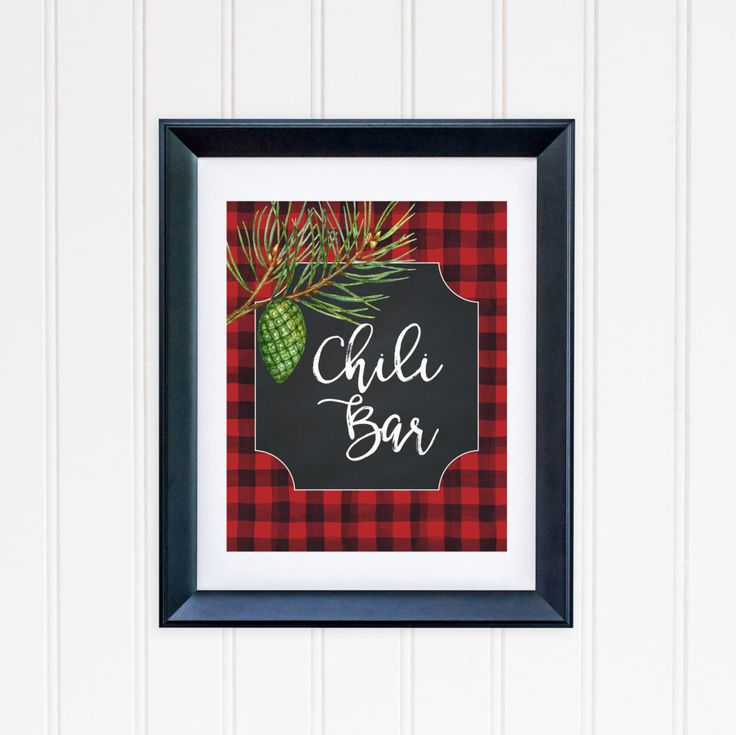 Chili Bar Party Table Sign Printable Chili Table Sign Buffalo Plaid Table Sign Party Sign Buffet Table Sign Red and Black Lumberjack Plaid by MossAndTwigPrints on Etsy