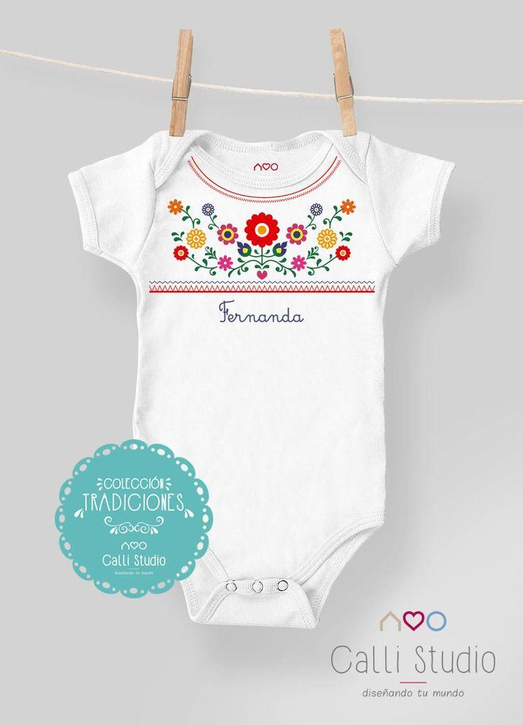 #pañalero #flores #onesie #flowers #mexican #México #baby #calli studio