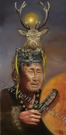 Shaman spirit oil painting / Sámán szellem olajfestmény http://henigaleria.hu/kepek.php?album=%C5%90sis%C3%A9g&page=7