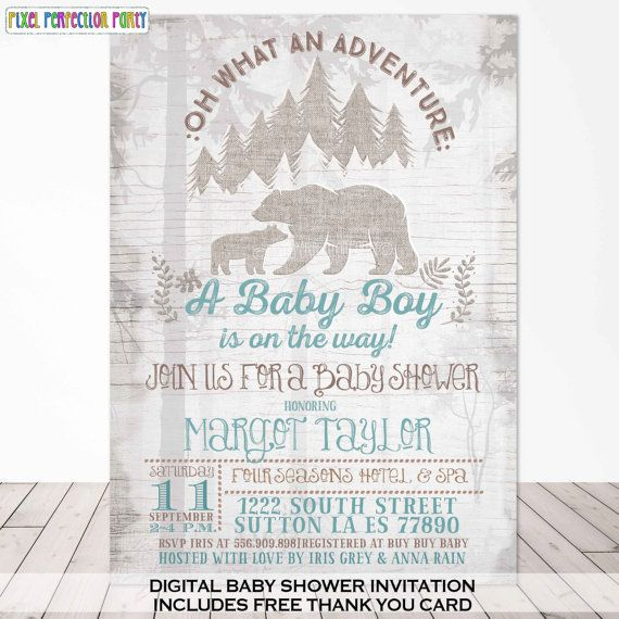Bear Baby Shower Invitation Woodland Bear Baby Shower Invitation Rustic Bear…