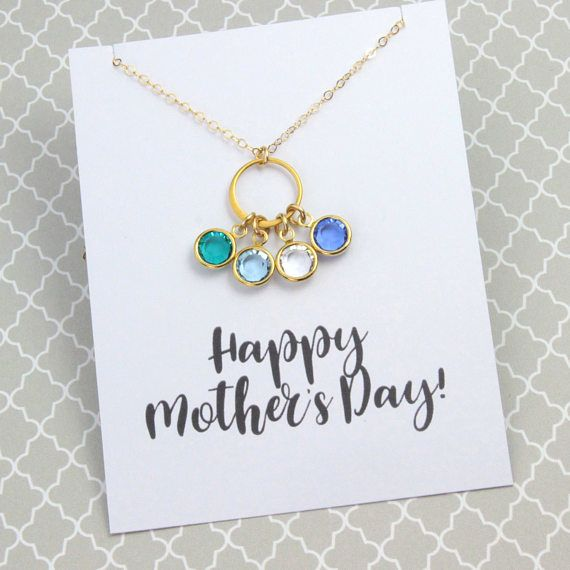 Personalized Eternity Birthstone Necklace, Mother's Day Necklace, Gold or Silver Link Necklace, Birthday Jewelry Gift, With/Without Card
