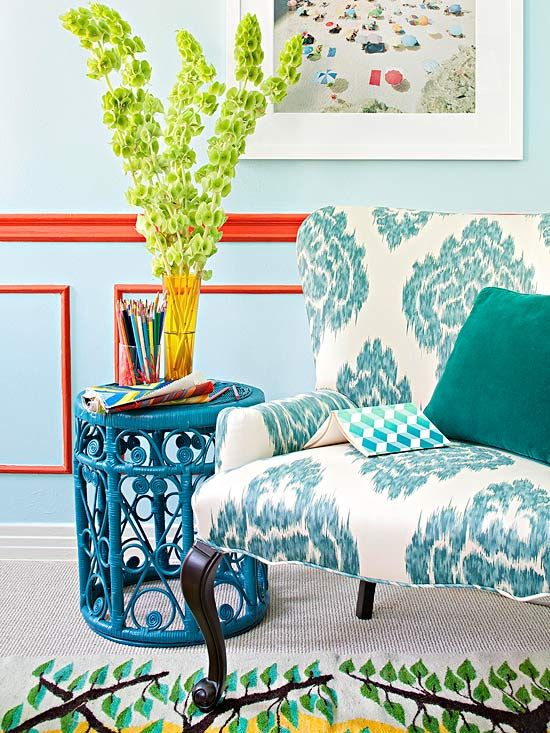 Color ideas for guest room. Looking for color ideas for wicker chair and headbood. Using corals, bright colors and turquoise throughout the room.