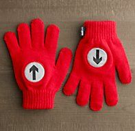 Sweet! Knit gloves with hi-viz arrow patches for cycling night safety.
