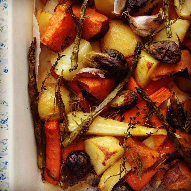 ultimate roasted veggies ~ secret is to parboil first. Drain then toss with olive oil, salt, pepper, rosemary, thyme. Roast about 1 hour @ 400 degrees