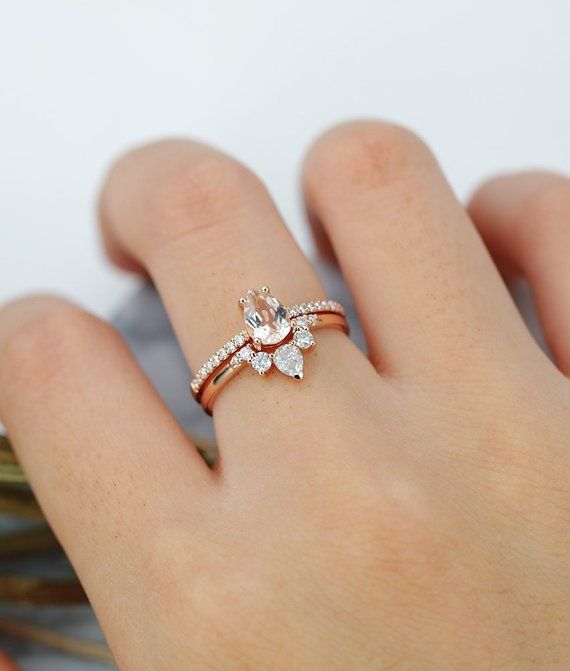 Morganite engagement ring pear cut vintage Halo diamond Half eternity Wedding ri…