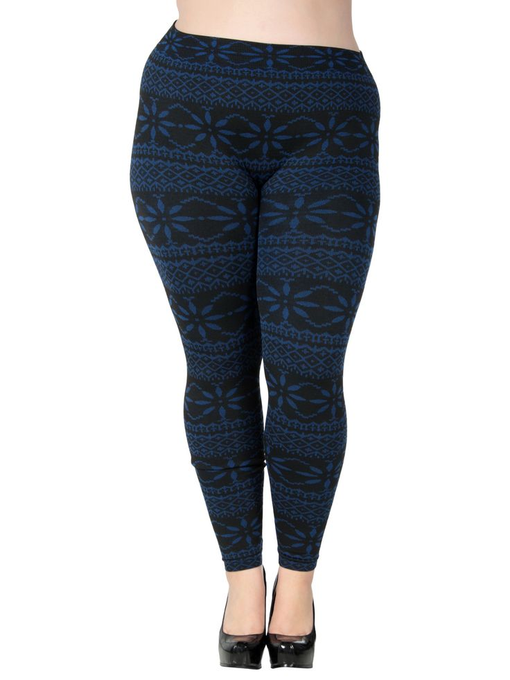 Snowflake Colored Stretchy Plus Size Leggings
