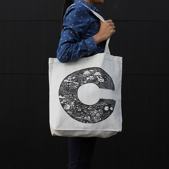 The Alphabird C canvas tote bag by ReneeChin on Etsy