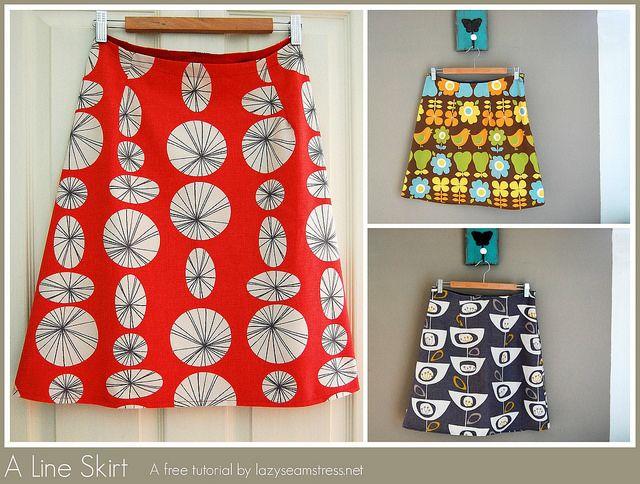 A line skirt free tutorial by lazyseamstress.net