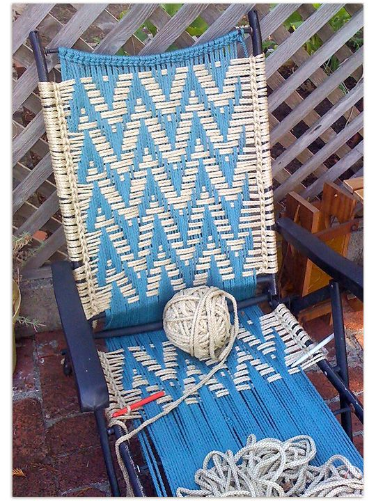 Thompson Family-Life: Vintage Craft: Macrame Chairs & a new Work in Progress