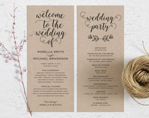 Best  Wedding Ceremony Program Template Ideas On