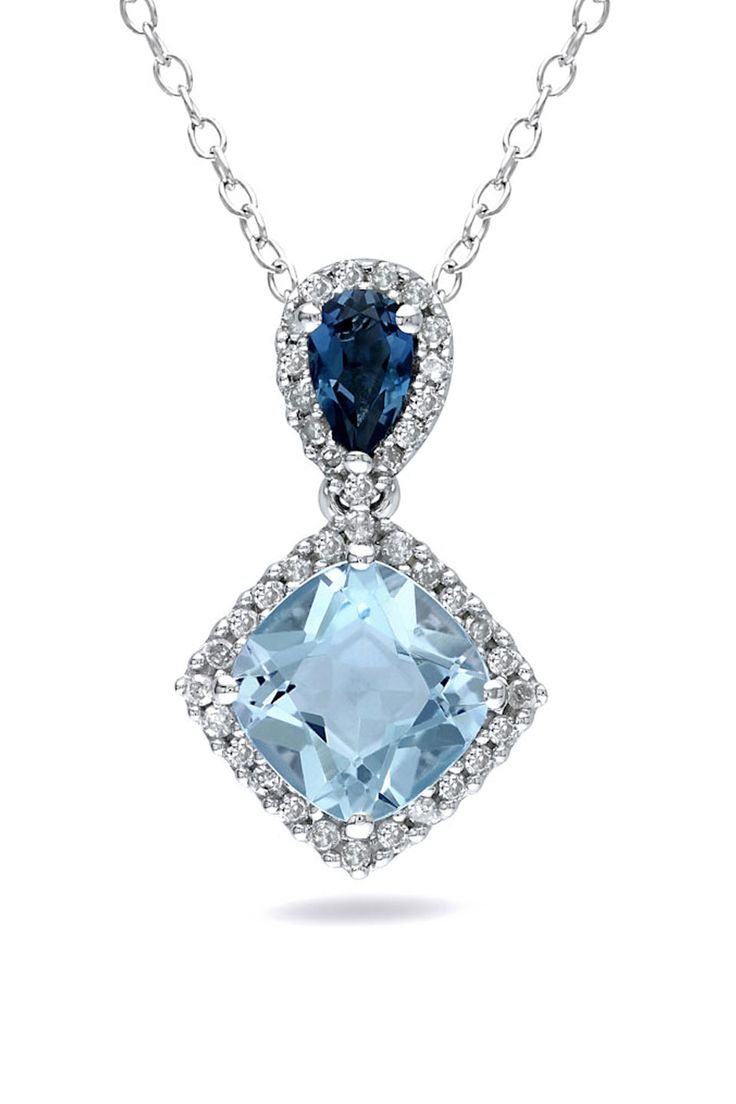 London & Sky Blue Topaz & Diamond Pendant In Silver
