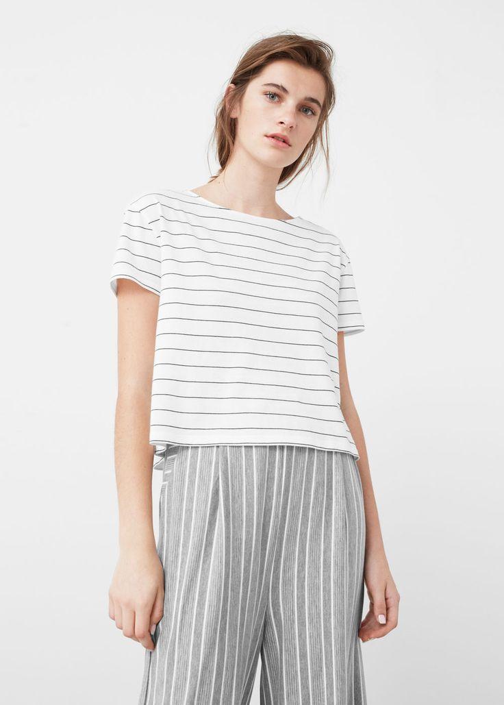 Camiseta algodón rayas   MANGO