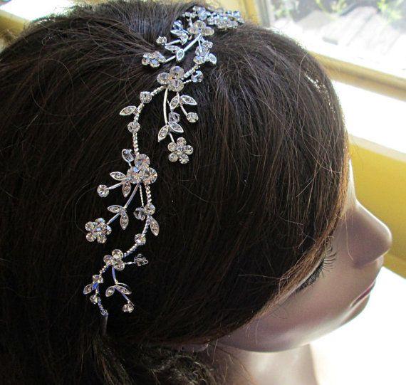 $55.50 Wedding Headband Crystal Tiara Bridal Hair vine by MissJoansBridal