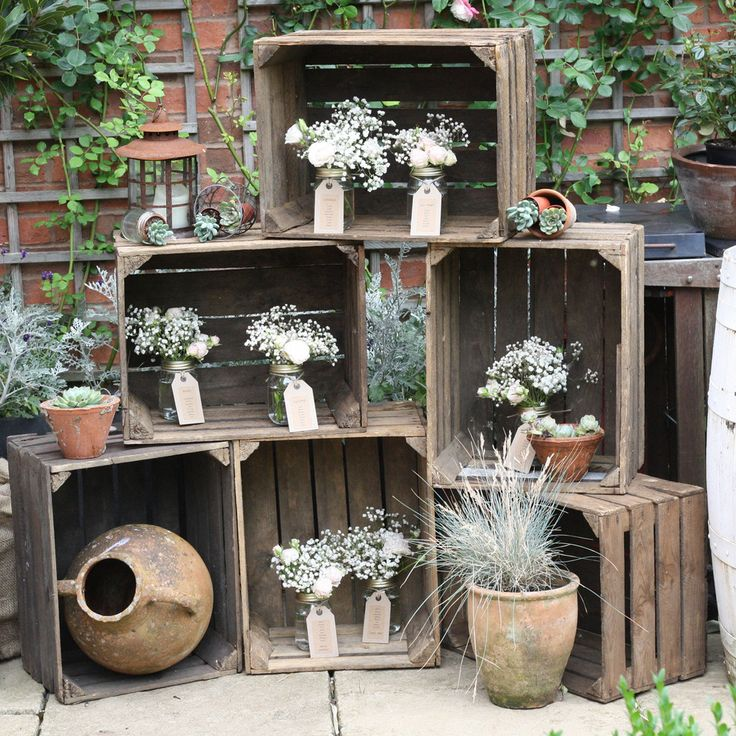 large wooden crates -  available from www.theweddingofmydreams.co.uk