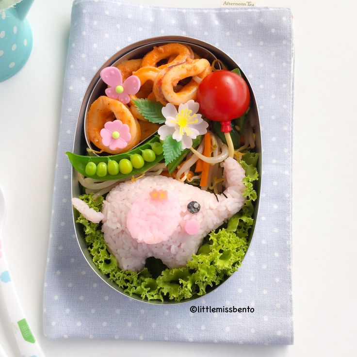 Pink elephant bento ~ with a little tomato & noodle balloon! | from Little Miss Bento