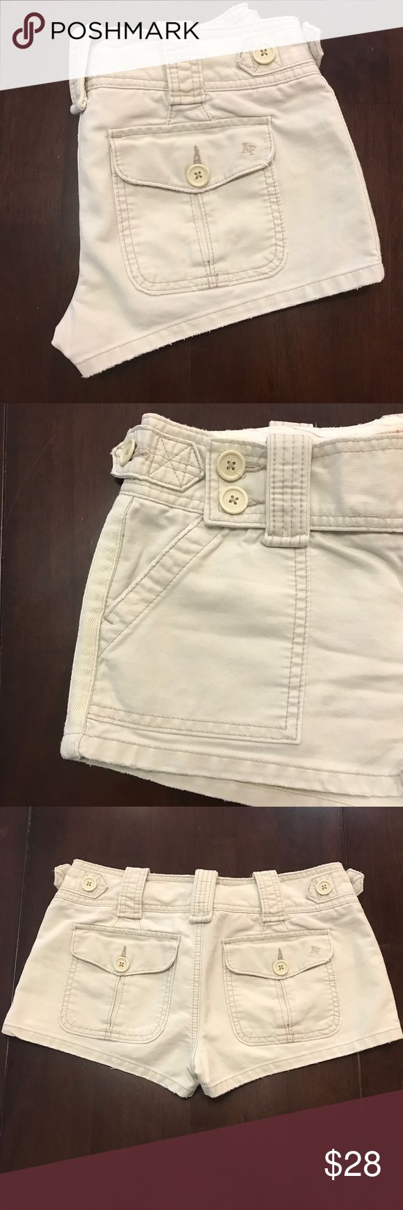 A&F Women's Khaki Shorts Abercrombie and Fitch Women's Shorts Khaki, size 4. Cute flap closure with buttons. In like new condition. Worn twice. Abercrombie & Fitch Shorts