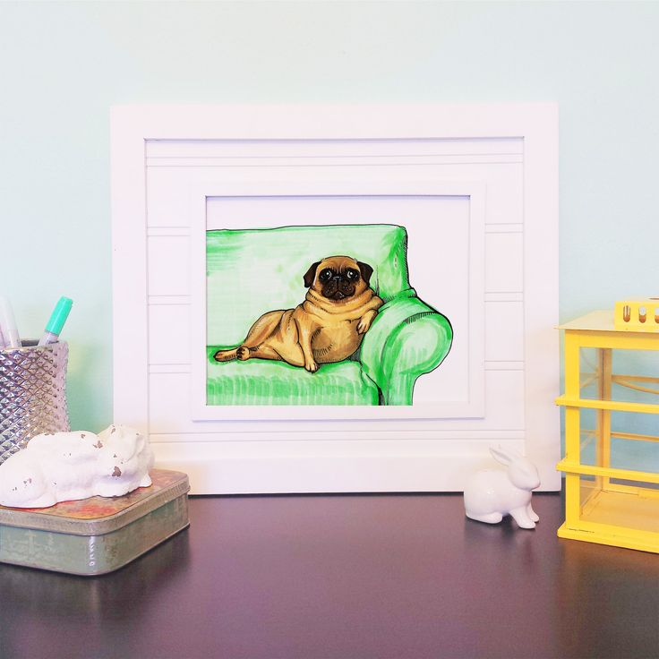 Fat Pug Art Print - Pug Lover, Gift for Best Friend, Pug Home Decor, Funny Pug Art, Gift For Dog Lover by BeckyWarrenDesign on Etsy