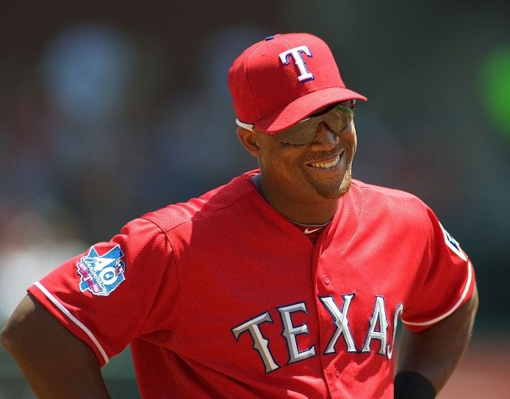ARLINGTON, TX - MAY 27:  Adrian Beltre #29 of the Texas Rangers smiles during their game against the Toronto Blue Jays at Rangers Ballpark in Arlington on May 27, 2012 in Arlington, Texas.  (Photo by Cooper Neill/Getty Images) game 48