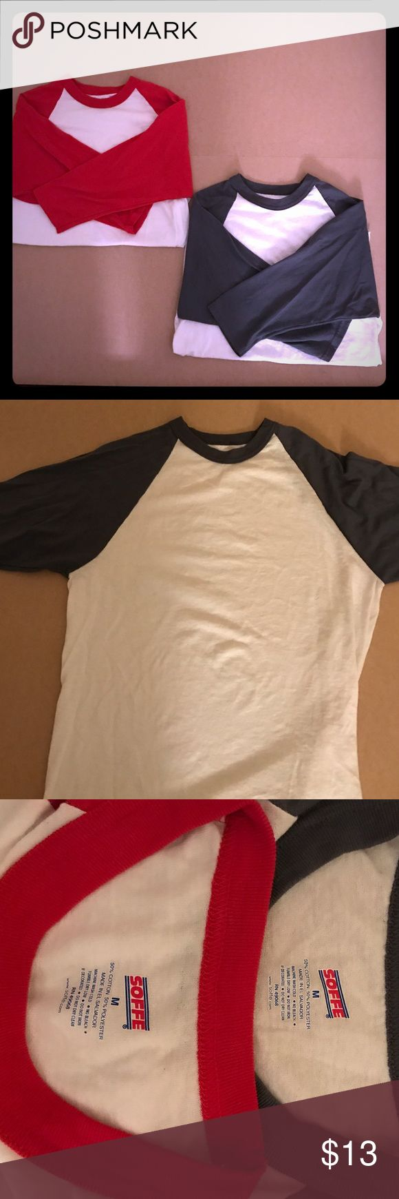 2 plain baseball tees & black shorts Size:M Soffe baseball tees. 3/4 sleeves. Both hardly used and in great condition. Black shorts size:M brand: Danskin Soffe Tops Tees - Long Sleeve