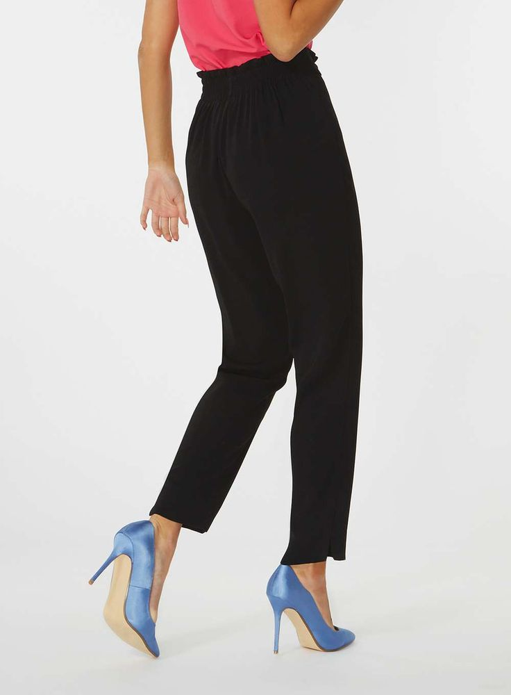 Womens Black Tie High Waisted Trousers- Black