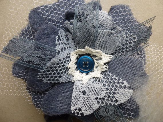 Glam Garb Fabric Flower Brooch Charcoal Grey Wool, Lace, Tulle Handmade USA Romantic Victorian Steampunk Vintage Up-cycled OOAK www.glamgarb.com www.etsy.com/shop/glamgarb
