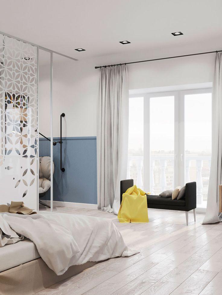 скандинавский стиль в интерьере, минимализм, интерьер с белыми стенами, цветовые акценты в интерьер, спальня с кабинетом, спальня в синем цвете