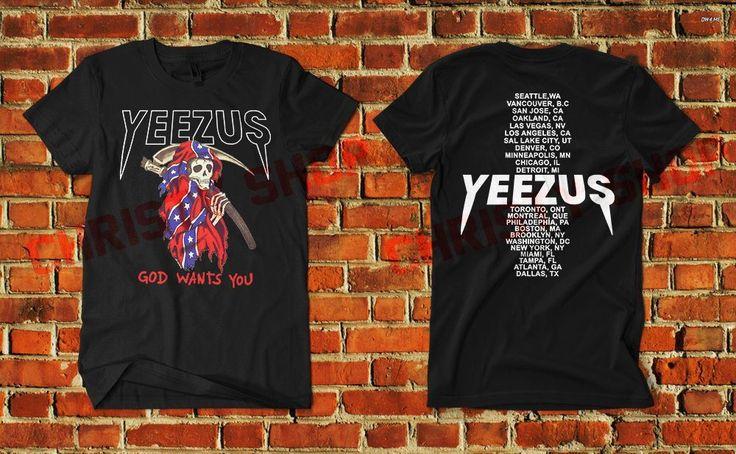 yeezus shirt god wants you grim reaper skeleton flag kanye west concert tour B3 #Unbranded #PrintedShirt