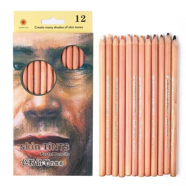 12Pcs Professional Soft Pastel Pencils Wood Skin Tint Colored For Students DIY