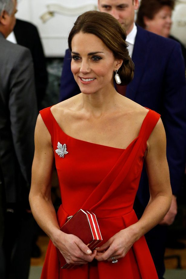 The Duchess of Cambridge also wore the Queen's diamond Maple Leaf Brooch