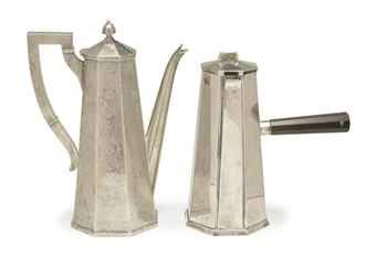 TWO SILVER OCTAGONAL COFFEE POTS, LATE 19TH-20TH CENTURY,  Price realised  USD 1,875
