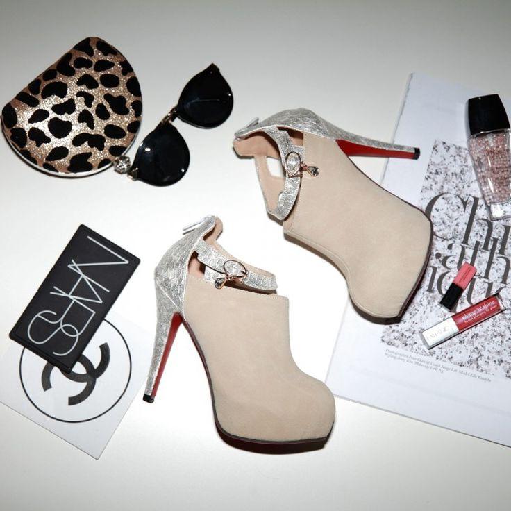 2014 novo patchwork elegante casamento sapatos plataforma botas mulheres de fundo vermelho sapatos de salto alto mulher grande tamanho mulheres botas de motociclista