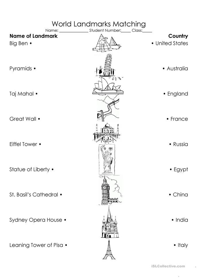 World Landmarks Triple Match With Images Map Worksheets Map