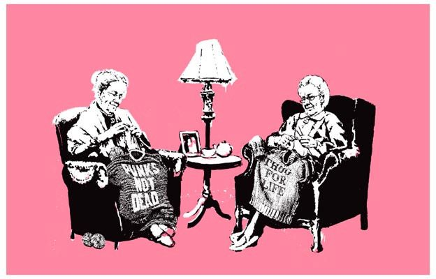 A great Banksy poster - Everyone wishes they had a Grandma that was this fresh! Ships fast. 11x17 inches. Check out the rest of our awesome selection of Banksy posters! Need Poster Mounts..?