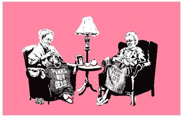 Banksy Punk and Thug Grannies Graffiti Art 11x17 Poster