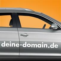 Domainaufkleber - Deine Internetadresse als Aufkleber. Heckscheibensprüche, Autoaufkleber, Werbeaufkleber und vieles mehr. Selbst gestalten, online bestellen!