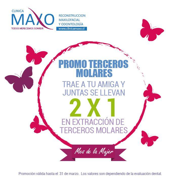"""En Maxo, no nos conformamos con un solo día para la Mujer, así que le dedicaremos el mes completo!! Ven a Clínica Maxo con tu amiga, mama, tía, prima, hija y aprovecha el 2x1 dedicado a ellas. """"PROMOCIÓN EN HIGIENE Y TERCEROS MOLARES"""" """"Llámanos y pide tu cita"""". Mail: info@clinicamaxo.cl / Teléfonos: +569 61281650 - 22317305 #salud #saluddental #clinicamaxo #FelizDiaDeLaMujer #promocion #2x1"""