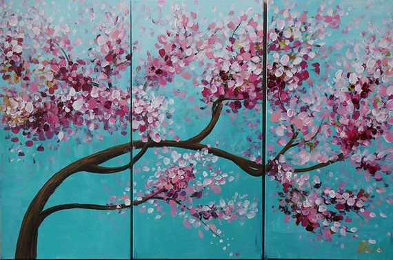 Tree Painting Flower Painting Cherry Blossom Original Painting Wall Decor Acrylic Painting Painting Cherry Blossom Wall Art Painting Cherry Blossom Painting