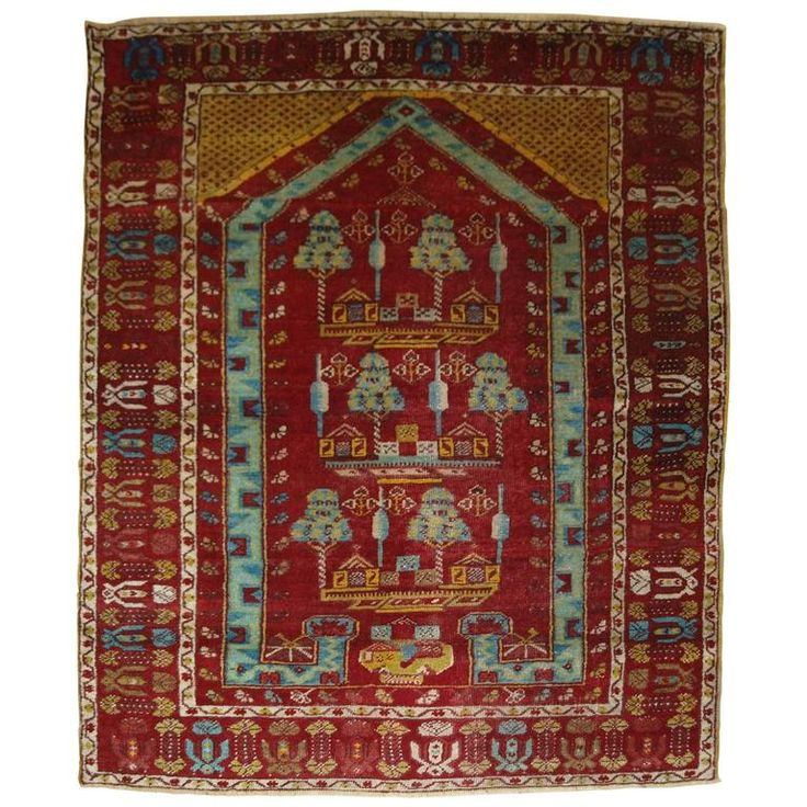 Antique Anatolian Kirsehir Village Prayer Rug, Traditional Design, One of Pair For Sale