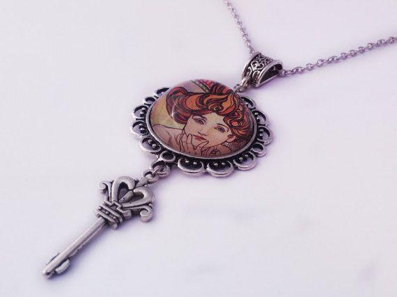 Lady Cameo Necklace Glass Cabochon Pendant by JewelleryByKassandra