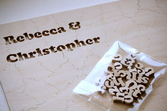 WOOD Guest Book Puzzle for Wedding A guest book by BellaPuzzlesToo