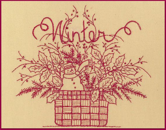 Redwork: Winter -  Redwork Hand Embroidery Pattern - by Beth Ritter for Wellington House Designs - Instant Digital Download