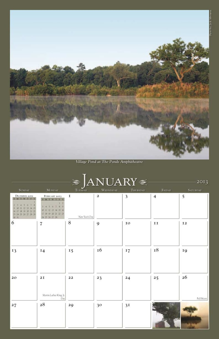 "The Ponds 2013 Calendar features photos showcasing the properties, scenery and activities at The Ponds, a new ""authentic Southern town"" outside of Charleston, SC. #housing #development #calendar www.yearbox.com"