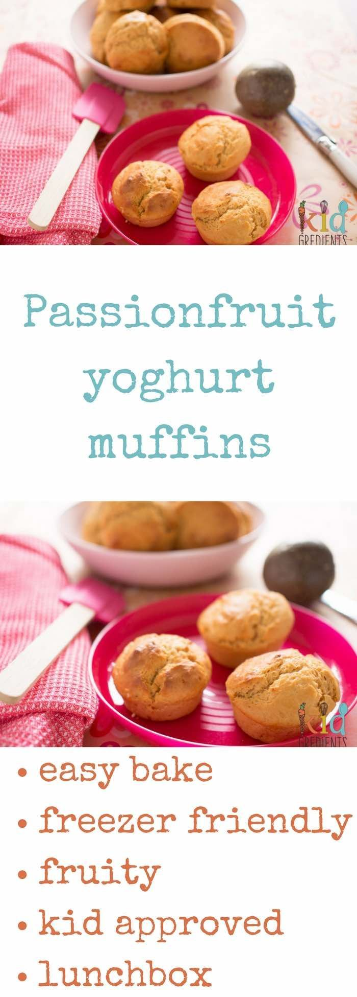 Yummy passionfruit yoghurt muffins, perfect for the lunchbox, freezer friendly and totally kid approved!  With the added bonus of yoghurt these are the perfect snack, afternoon tea or lunchbox treat! via @kidgredients